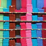 Colourful towel display by colour tones