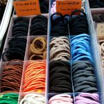 Hair bands sorted in colors