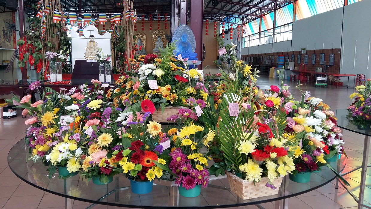 Sau Seng Lam Vesak flower arrangement